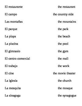 Realidades I, 4A Vocabulary
