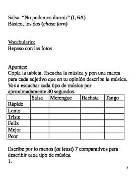 Realidades I, 6A Chapter Lesson Plans