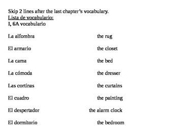 Realidades I, 6A vocab