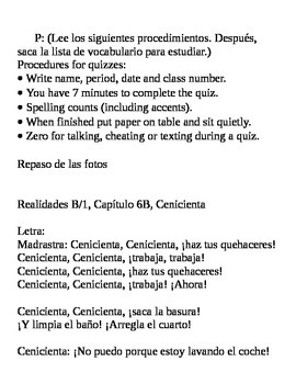 Realidades I, 6B Vocabulary Quiz