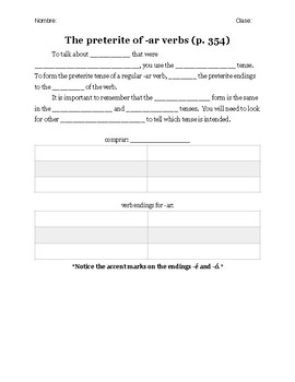 Realidades I 7B Vocabulary and Grammar Notes