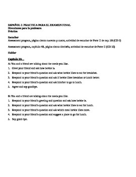 Realidades I, Final Exam Lesson Plans & Test Forms
