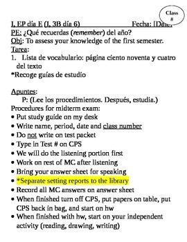 Realidades I, Midterm Test & Review Lesson Plans