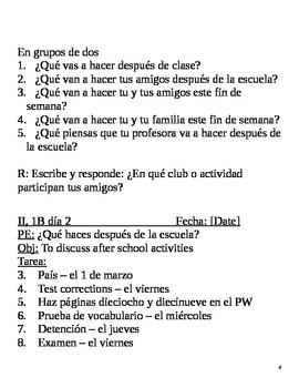 Realidades II, 1B Chapter Lesson Plans