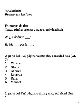Realidades II, 2A Chapter Lesson Plans