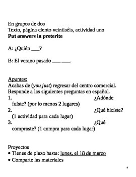 Realidades II, 3A Chapter Lesson Plans