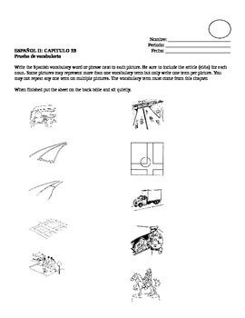 Realidades II, 3B Vocabulary Quiz