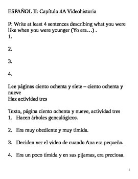 Realidades II, 4A Videohistoria