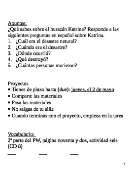 Realidades II, 5A Chapter Lesson Plans
