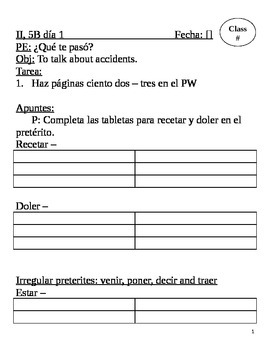 Realidades II, 5B Chapter Lesson Plans