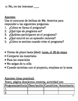 Realidades II, 6A Chapter Lesson Plans