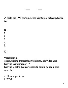 Realidades II, 6B Chapter Lesson Plans