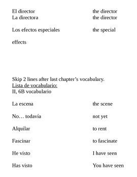 Realidades II, 6B Vocab
