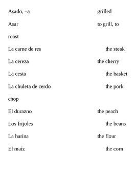 Realidades II, 7B Vocabulary