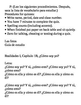 Realidades II, Para Empezar Vocabulary Quiz