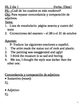 Realidades III, 2 Chapter Lesson Plans