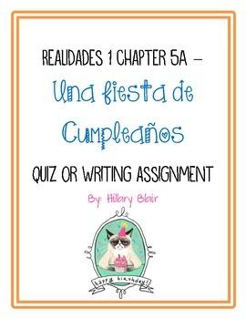 Realidades Level 1, 5A Fiesta de Cumpleaños Quiz / Assignment