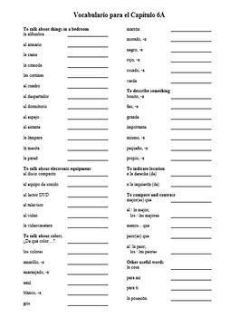 Realidades Level 1 Vocabulary Lists (CHAPTERS 1A-9B)