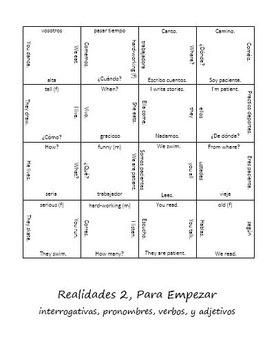Realidades Para Empezar Review Puzzle (Spanish 2)