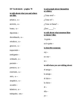 Realidades Spanish 1 2014 Edition Chapter 1B Vocabulary List with Answer Key