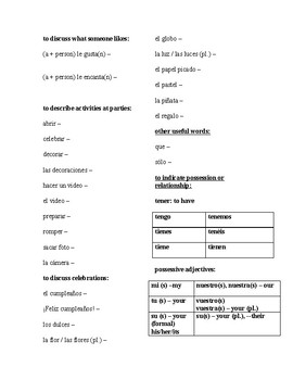 Realidades Spanish 1 2014 Edition Chapter 5A Vocabulary List with Answer Key