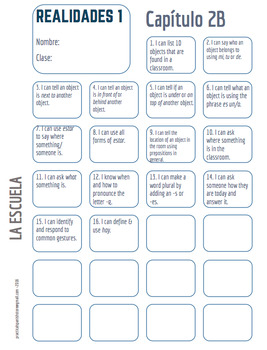 "Realidades Spanish 1 • ""I CAN"" statement stamp sheet • 2A & 2B"