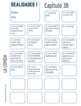 """Realidades Spanish 1 • """"I CAN"""" statement stamp sheet • 3A & 3B"""