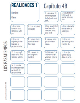 """Realidades Spanish 1 • """"I CAN"""" statement stamp sheet • 4A & 4B"""