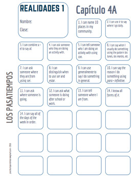 "Realidades Spanish 1 • ""I CAN"" statement stamp sheet • 4A & 4B"