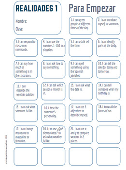 "Realidades Spanish 1 • ""I CAN"" statement stamp sheet + template • All chapters"