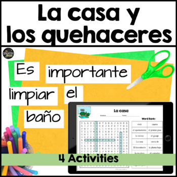 Realidades Spanish 1 cp. 6A 6B word search house casa vocab