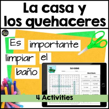 Realidades Spanish 1 cp. 6A 6B word search house casa vocab