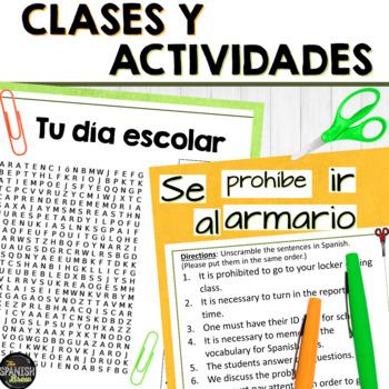 Spanish 2 word search & sentence unscramble-  la escuela