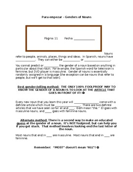 Realidades Spanish PE Cloze Notes Genders of Nouns Explanation EDITABLE WORD DOC