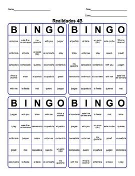 Realidades 1 Uno 4B bingo Los pasatiempos