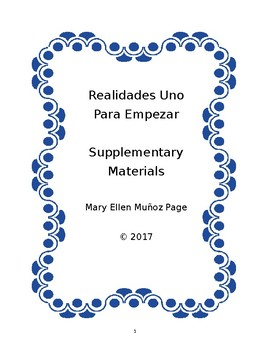 Realidades Uno para empezar supplementary materials