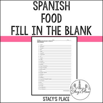 Spanish 1 Foods Fill in the Blank (La Comida)