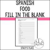 Spanish 1 Foods Fill in the Blank (La Comida), Realidades 1:3A