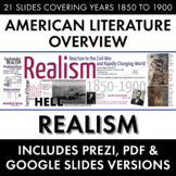 Realism American Literature Movement, from Civil War to Regionalism/Naturalism