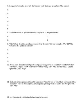 Realism: Wagner Matinee Worksheet (or Test) and Detailed Answer Key