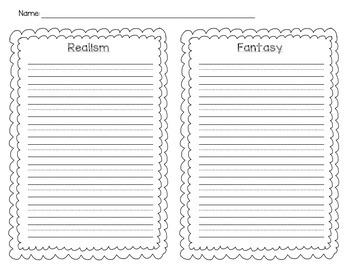 Realism Fantasy Writing Worksheet