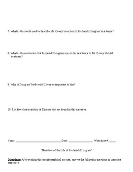 Realism: Narrative of Frederick Douglass Worksheet (or Test) and Answer Key