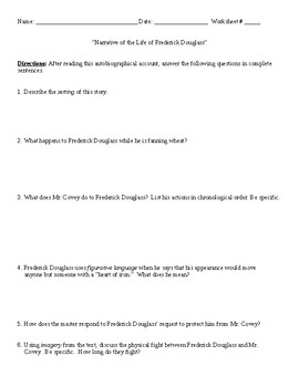 Narrative of Frederick Douglass Worksheet (or Test), Realism, and Answer Key