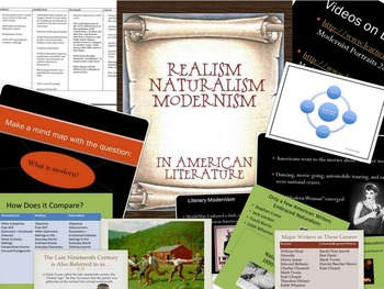 Realism, Naturalism, and Modernism in American Literature Bundle with Videos!