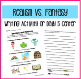 Realism and Fantasy Writing Activity/Center/Daily 5
