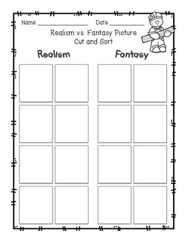 Realism vs Fantasy Picture Cut and Sort