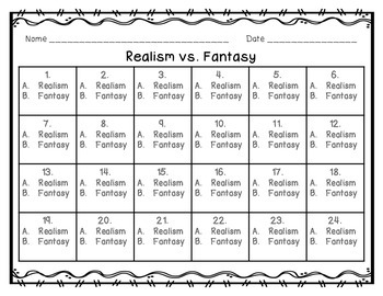 Realism vs. Fantasy Picture Task Cards