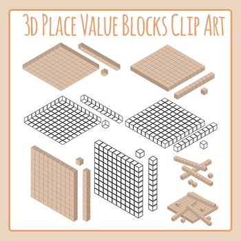 Realistic 3D Place Value Blocks Clip Art for Commercial Use