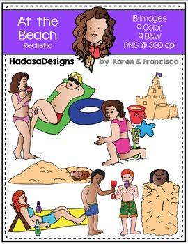 Realistic At the Beach Clip Art Set