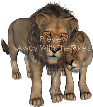 Realistic Big Cat Clip Art Collection - Amazing Graphics! Tiger Lion Jaguar etc